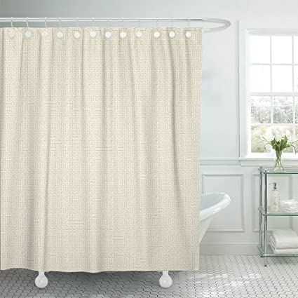 Amazon TOMPOP Shower Curtain Tan Neutral Fine Linen Beige