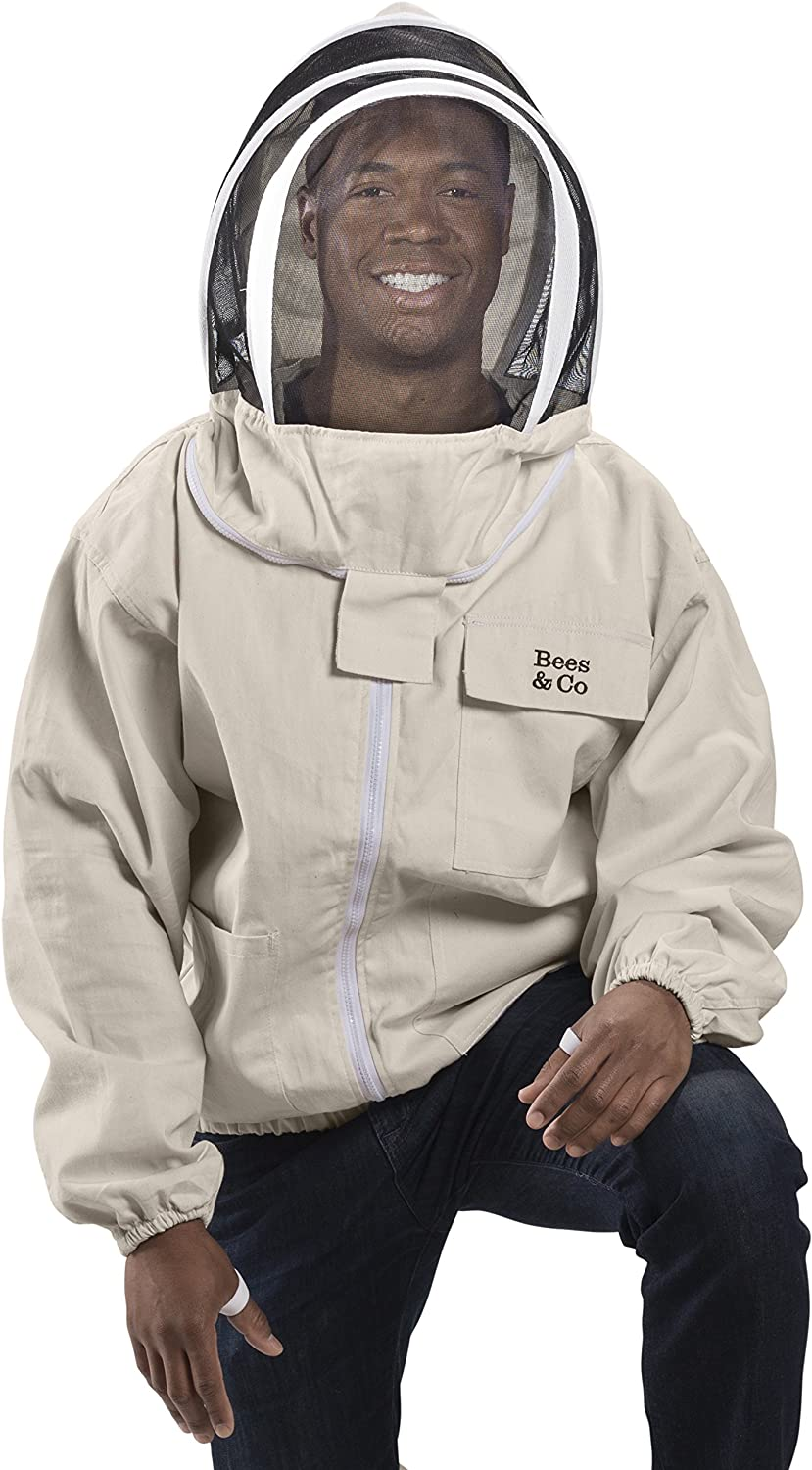 Bees /& Co K74 Natural Cotton Beekeeper Jacket with Fencing Veil