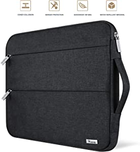 Voova 11 11.6 12 Inch Laptop Sleeve Case Cover, Water Resistant Computer Protective Bag Compatible with MacBook Air 11, Mac 12, Surface Pro X 7 6 5 4, Samsung Acer Asus Chromebook with Handle, Black