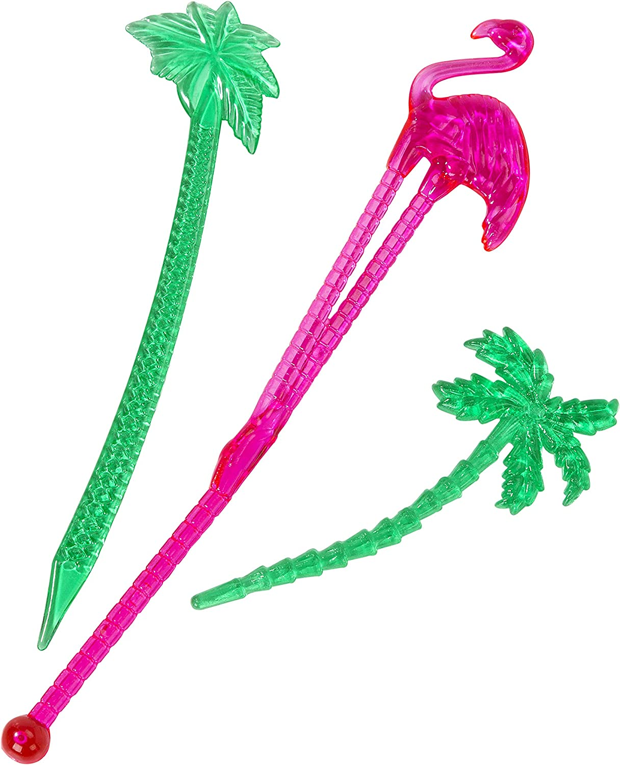 Pink and Green Plastic Talking Tables FST6-STIRRER-PICK Tropical Fiesta Palm Tree and Flamingo Stirrers and Picks