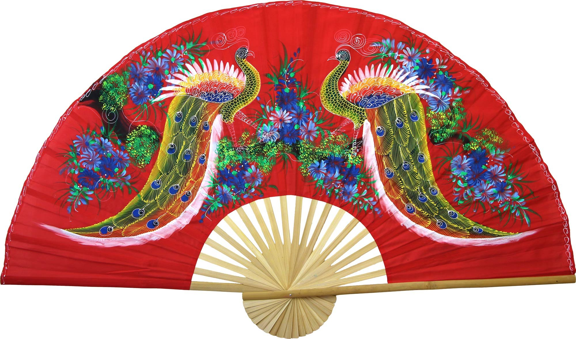 Large 60'' Folding Wall Fan -- Wisdom of the Peacocks -- Original Hand-painted Wall Art by Oriental-Decor