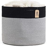 "Goodpick Large Cotton Rope Basket 15.8""x15.8""x13.8""-Baby Laundry Basket Woven Blanket Basket Nursery Bin, Black"