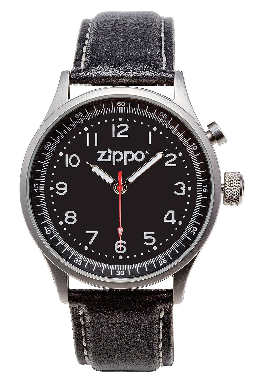 Zippo - Reloj analógico para caballero de cuero Resistente al agua negro: Amazon.es: Relojes