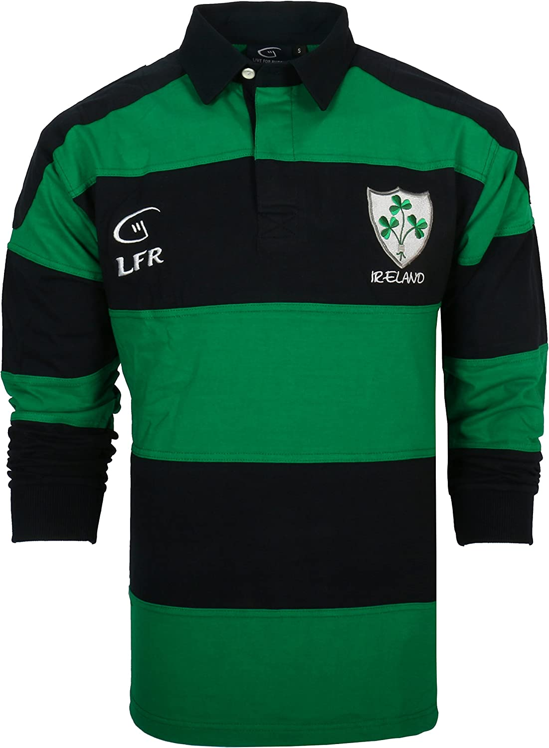 Long Sleeve Striped Shamrock Irish Rugby Shirt Kelly Green Navy Blue