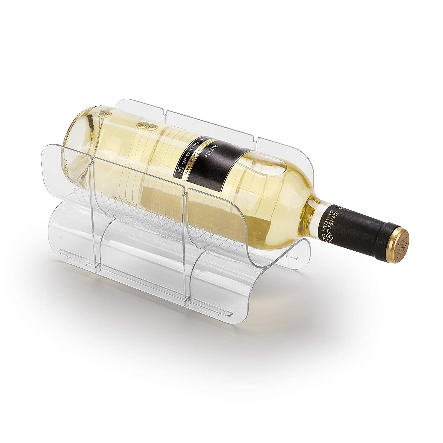 Ettori Stackable Clear Wine Rack Holder for Kitchen, Pantry, Fridge, Ideal Storage for Wine, Champagne,Beer, Bottle Water