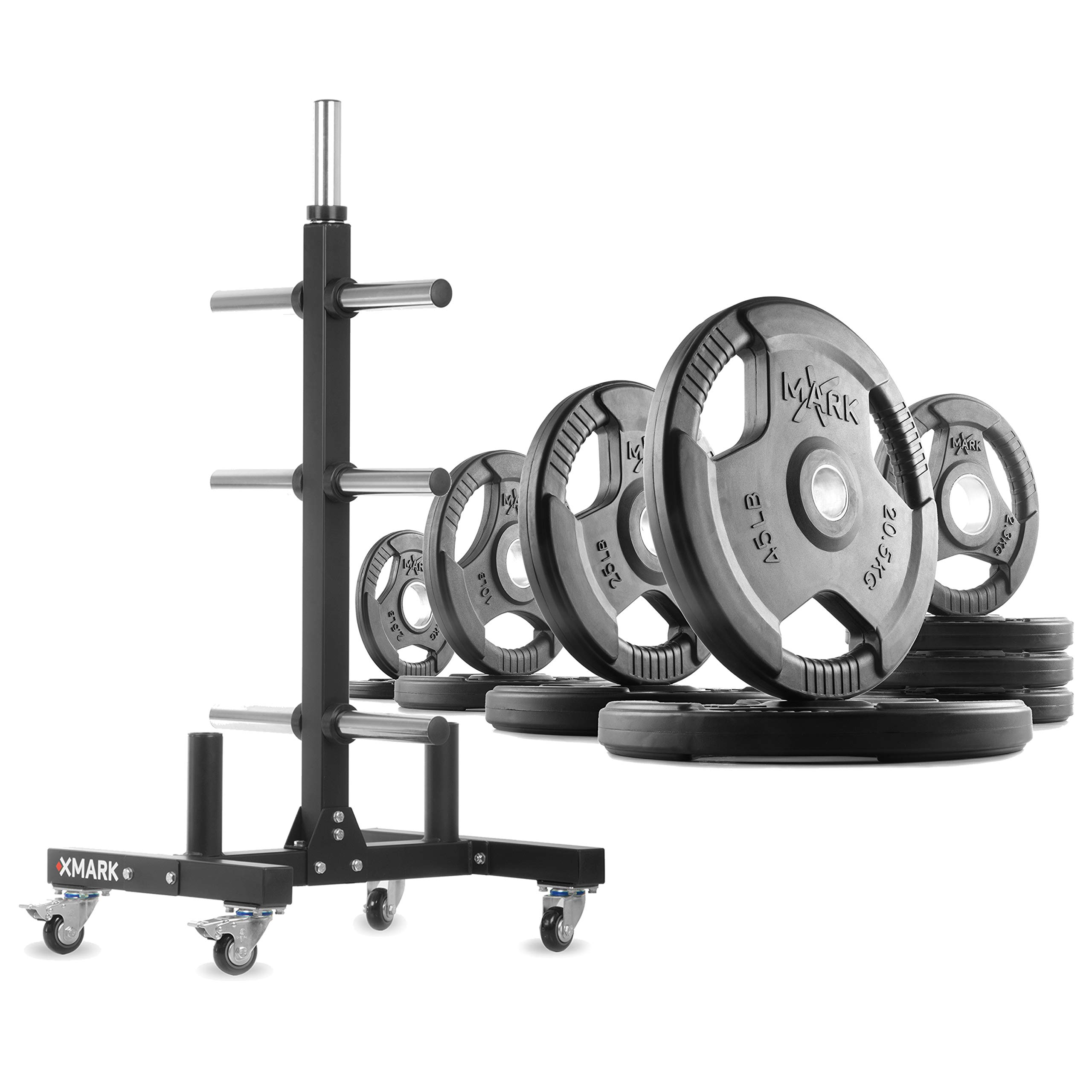 XMark XM-9055 Commerical Olympic Weight Tree Plus a 185 lb Set of TRI-Grip Olympic Plates by XMark