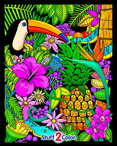 Amazon.com: Tropical Paradise - Fuzzy Coloring Poster For Kids And Adults  (Arrives Uncolored): Toys & Games