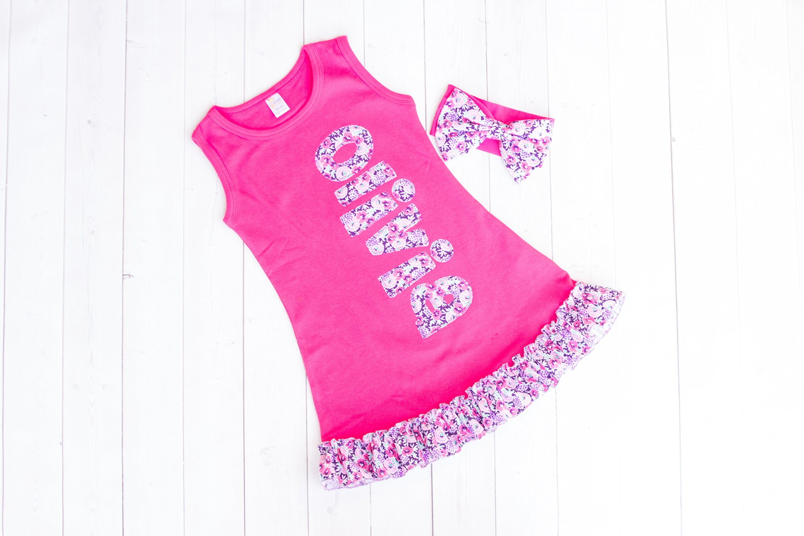 Girl's Fuchsia Personalized Ruffle Dress by Thready Teddy Embroidery - Floral Monogram - Custom Swimming Cover - Embroidered Beach Wear - Cute Name Summer Spring Outfit