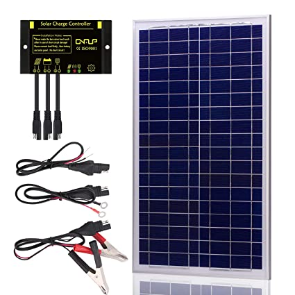 SUNER POWER 30 Watts 12V Off Grid Solar Panel Kit - Waterproof 30W Solar  Panel + Photocell 10A Solar Charge Controller with Work Time Setting + SAE