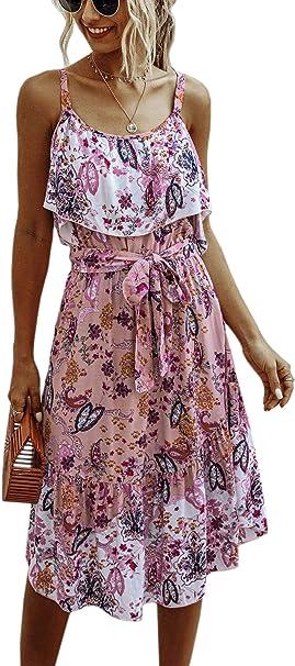 Spec4y Damenkleid 2020 Sommer Spaghettitrager Boho Blumendruck Strand Sommerkleid Casual Lange Kleider Mit Gurtel Amazon De Bekleidung
