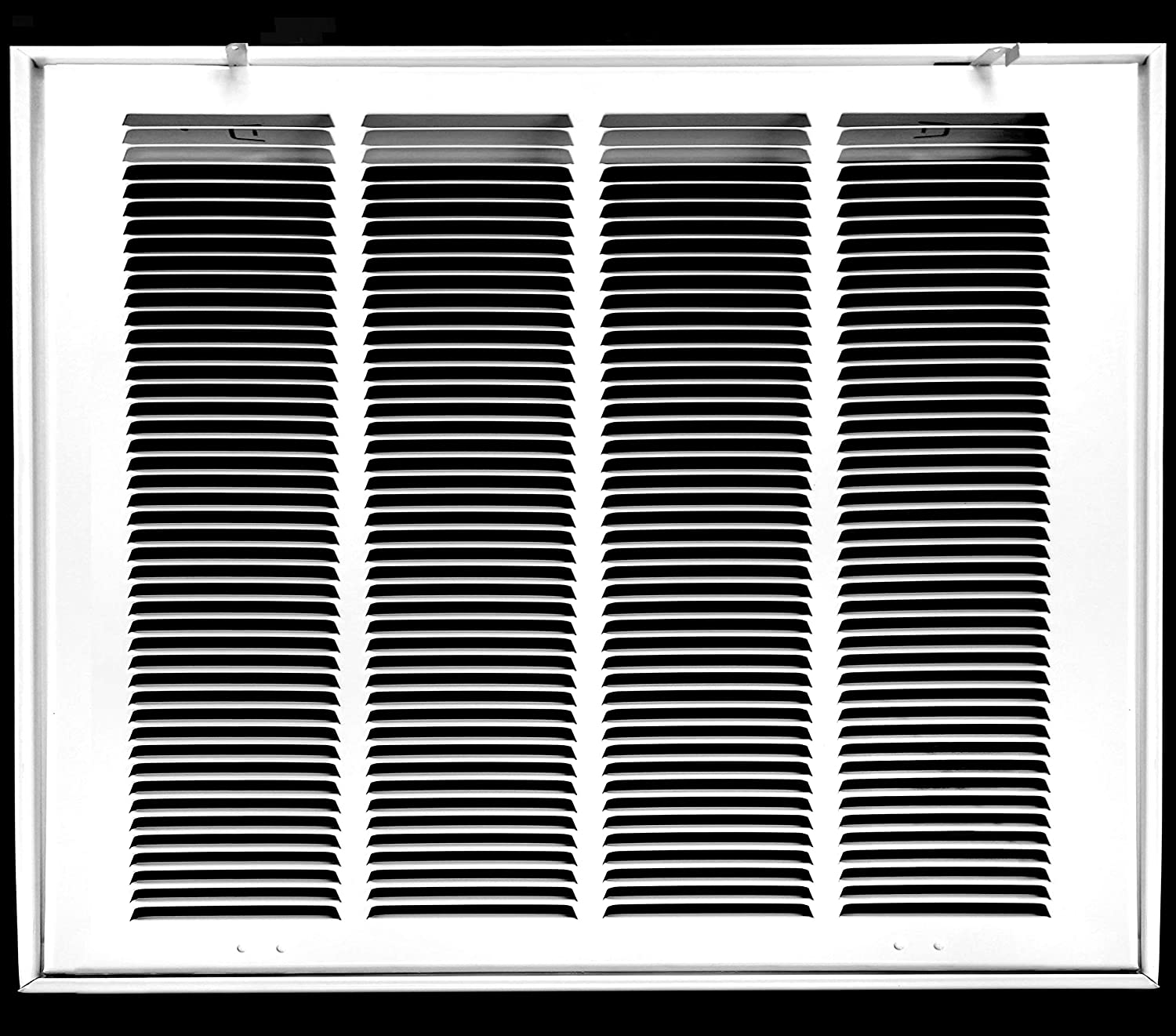 "22"" X 22"" Steel Return Air Filter Grille for 1"" Filter - Fixed Hinged - Ceiling Recommended - HVAC Duct Cover - Flat"" Stamped Face - White [Outer Dimensions: 24.5 X 23.75]"