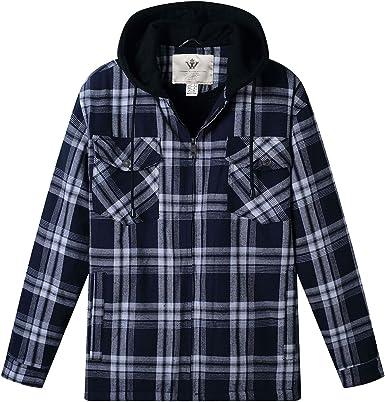 WenVen Camisa de Cuadros con Capucha Forro de Sherpa para Hombres Azul+Blanco XX-Large: Amazon.es: Ropa y accesorios