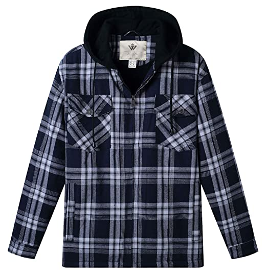 13d1be1c715 WenVen Men s Casual Plaid Hooded Shirt Zippered Jacket with Sherpa ...