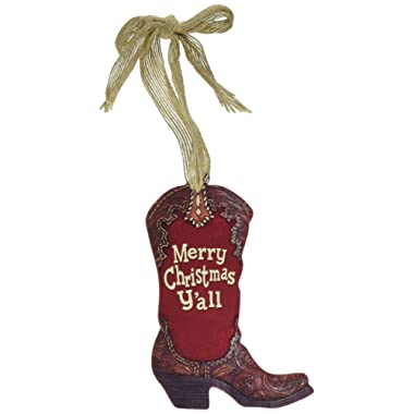 Christmas Holiday Burgundy Wooden Western Boot Shaped Ornament Merry Christmas Y'all