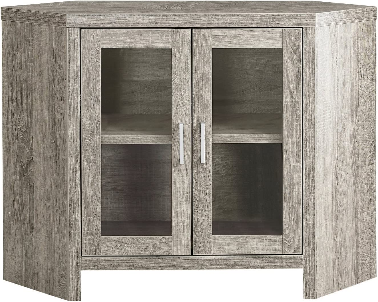42 Dark Taupe Monarch Specialties I Corner with Glass Doors TV Stand