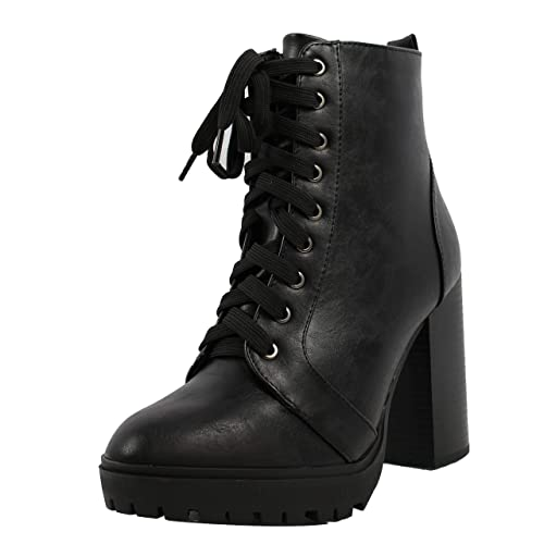 0e1ea63aaa9 SODA Women's Military Combat Lace Up Lug Platform Chunky Block Heel Ankle  Boot