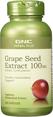 GNC Herbal Plus Grape Seed Extract 100mg, 100 Capsules, Provides Antioxidant Support