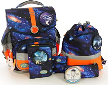 fd0fd51e1b020 School-Mood Schulranzen-Set 7-tlg Timeless M.B. Galaxy Raumschiff Galaxy