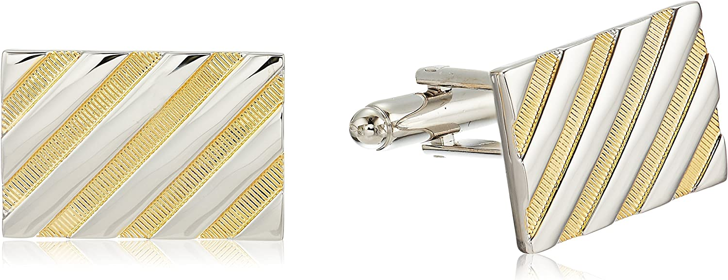 Stacy Adams Mens Silver and Gold Stripe Cuff Link One size