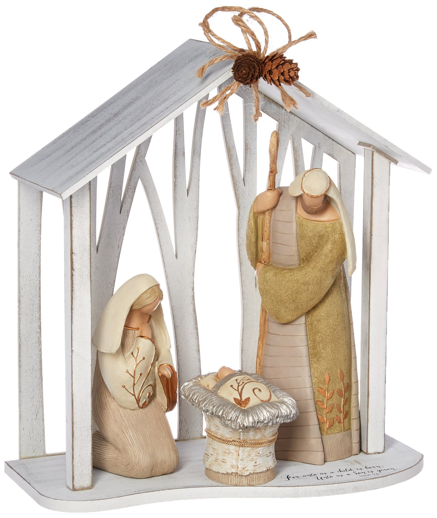 Enesco Legacy of Love by Gregg Gift Holy Family in Creche Wood and Stone Resin Figurine, 13""