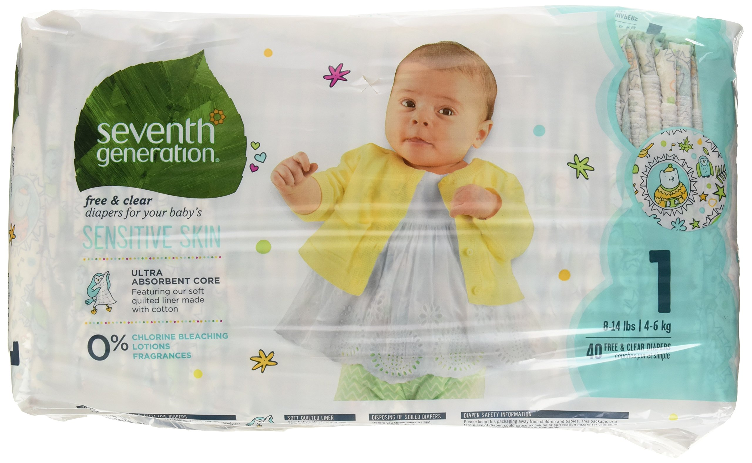 Seventh Generation Baby Diapers, Free and Clear for Sensitive Skin, with Animal Prints, Size 1, 40 Count (Packaging May Vary)