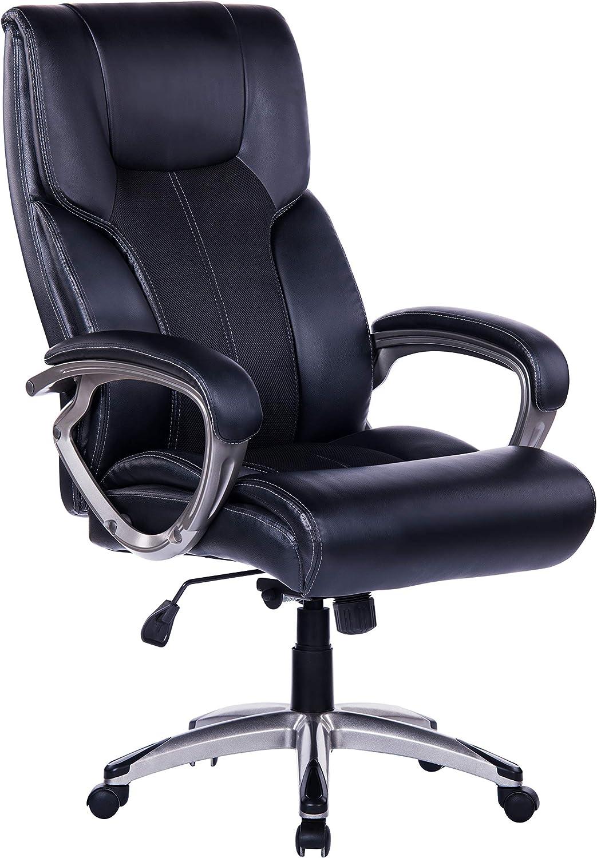 Bosmiller B/ürostuhl Chefsessel Drehstuhl Computerstuhl Office Stuhl Wippfunktion PU Leder ergonomisch mit Armlehne Schwarz 9038