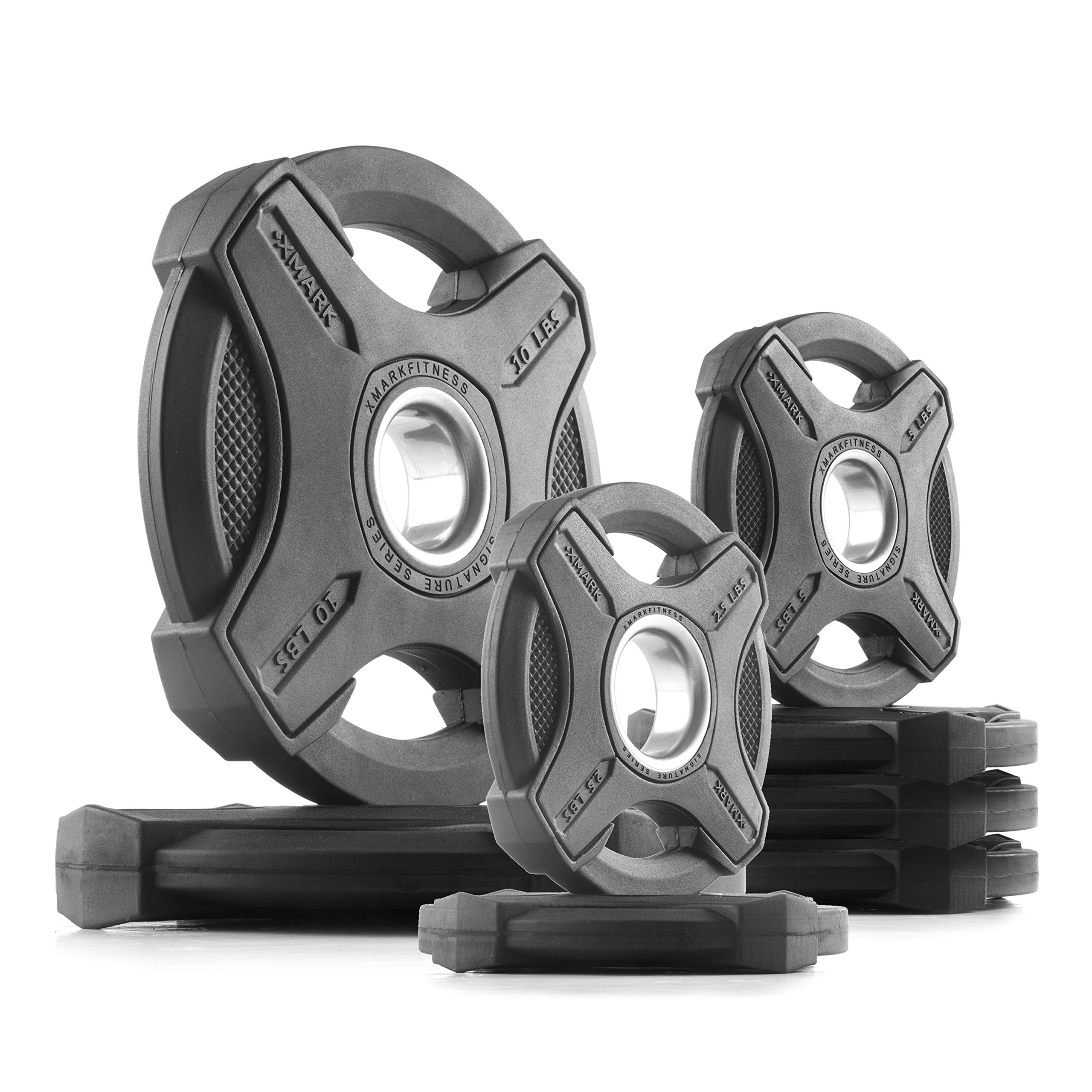 XMark 45 lb Set Signature Plates, One-Year Warranty, Olympic Weight Plates, Cutting-Edge Design