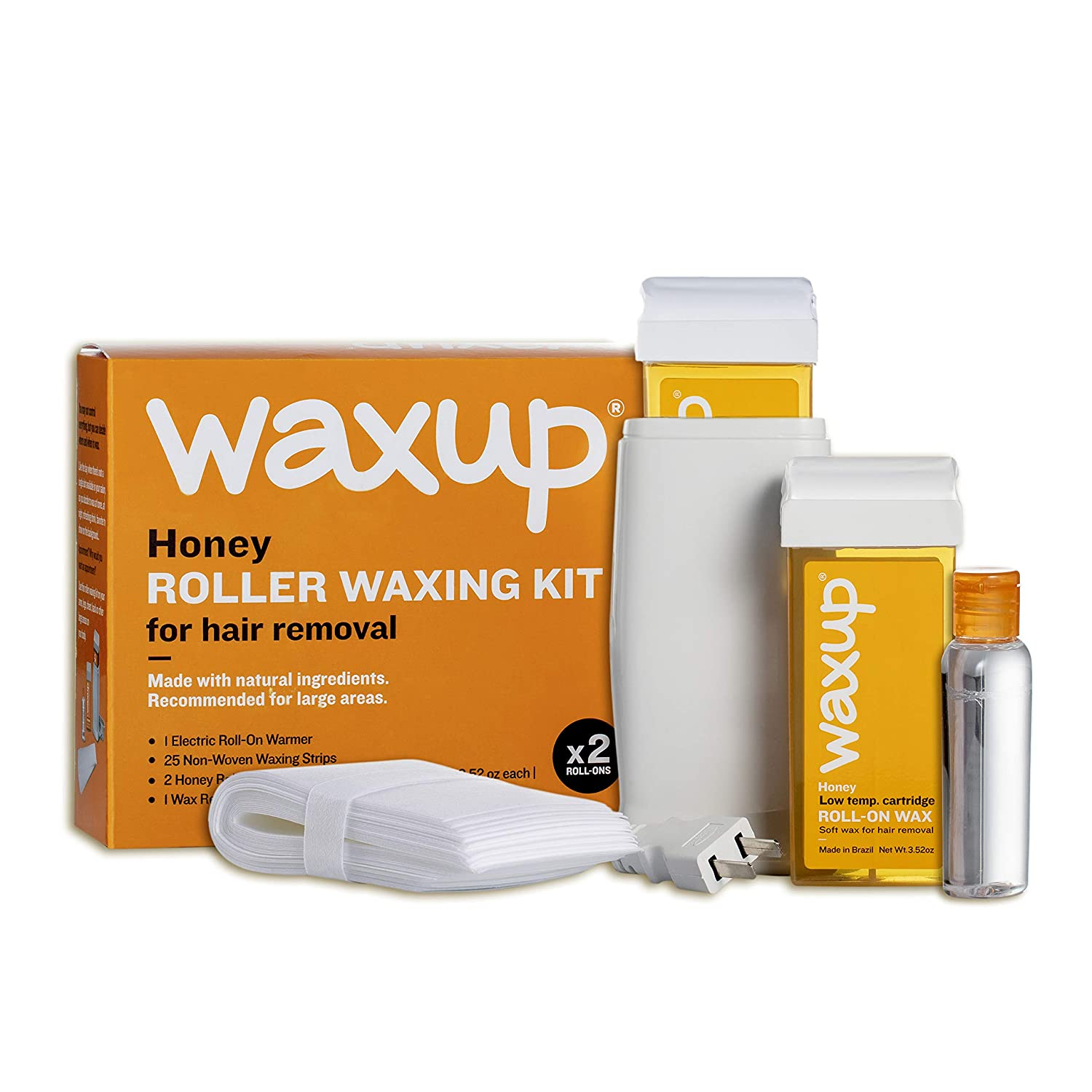 waxup Roller Waxing Kit, Home Depilatory Soft Wax Warmer (Heater), 25 Non Woven Wax Strips for Hair Removal, Oil Wax Remover, 2 Honey Roll On Wax Cartridge Refill, Men and Women, Sensitive Skin.