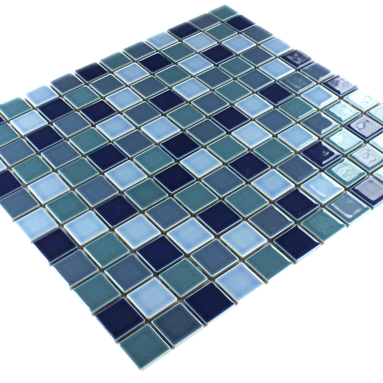 Keramik Mosaik Blau Mix Gl/änzend
