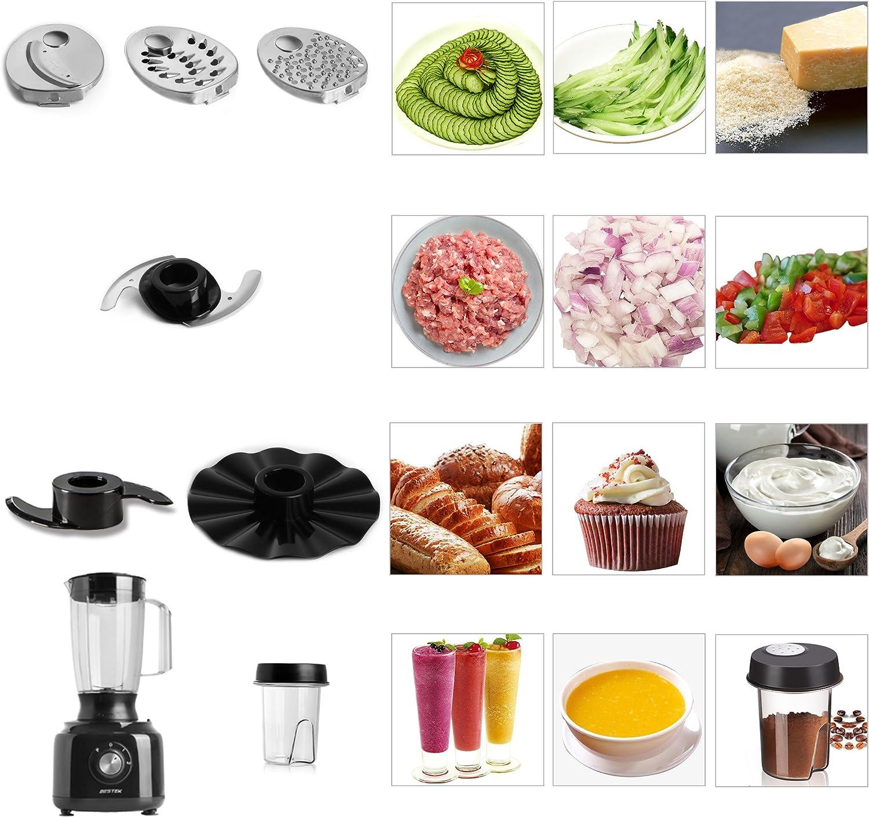Procesador de Alimentos 800W Funciones 3 en 1 BESTEK Picadora de Verduras Carnes Electrónica [1.8L + 1.6L + 0.45L] Cortador de Verdura Electrico, 3 Modos de Velocidad, 12 Accesorios, Negro: Amazon.es: Hogar