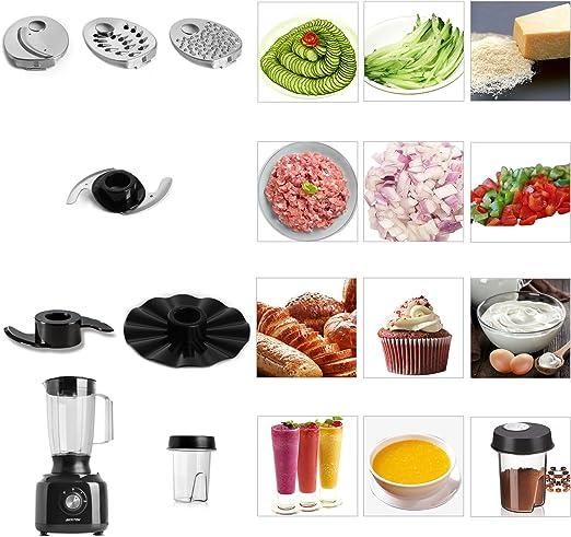 Procesador de Alimentos 800W Funciones 3 en 1 BESTEK Picadora de ...