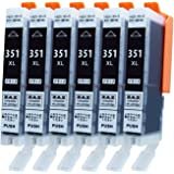 [ZAZ] Canon 互換インク BCI-351XLBK ブラック 6本セット ( BCI-351XL+350XL/6MP or BCI-351XL+350XL/5MP 対応の 351XL ブラック6本) ( BCI-351BK の大容量タイプ) ICチップ付き 残量表示可能 [ FFPパッケージ(351BK)]