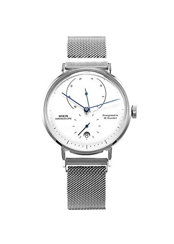Reloj de acero inoxidable suizo con movimiento automático, correa de malla de plata Milán, calendario impermeable, reloj para hombre: Amazon.es: Relojes