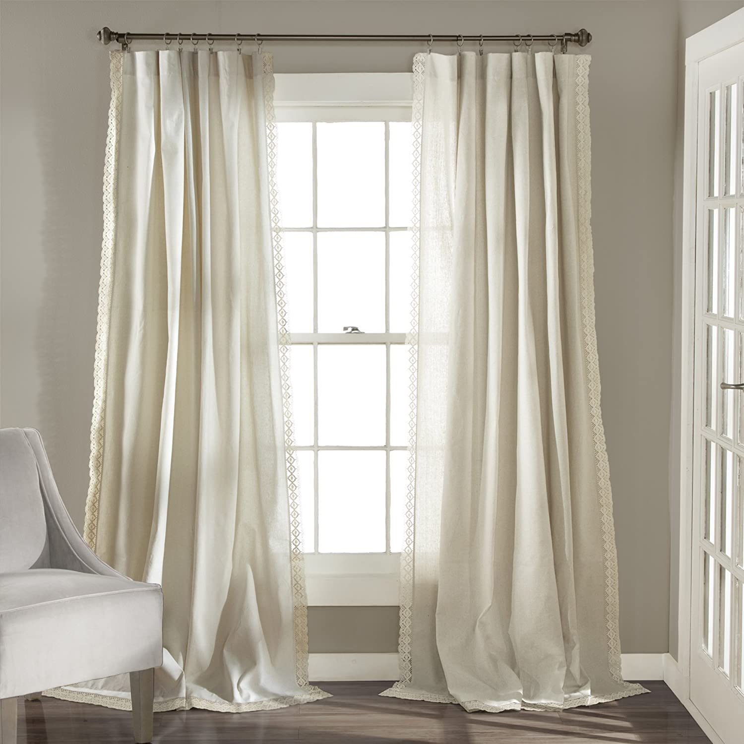 """Lush Decor Rosalie Window Curtains Farmhouse, Rustic Style Panel Set for Living, Dining Room, Bedroom (Pair), 108"""" x 54"""" Ivory, 108"""" x 54"""""""