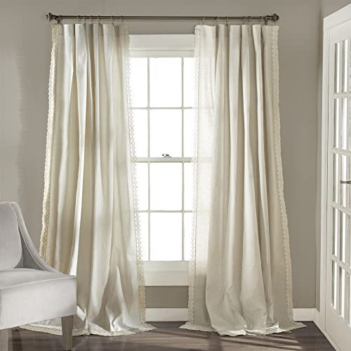 Lush Decor Ivory Rosalie Window Curtains Farmhouse
