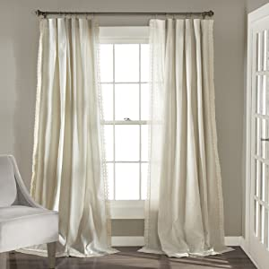 "Lush Decor Rosalie Window Curtains Panel Set for Living, Dining Room, Bedroom (Pair) 95"" x 54"" Ivory"