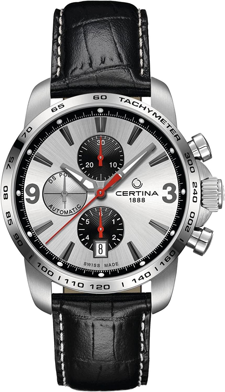 Certina - Reloj de Automático para Hombre, Correa de Cuero Color Negro