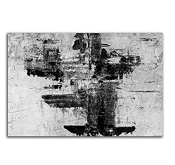 100x70cm Abstrakt050_Leinwandbild Abstrakte Kunst Kunstdruck Schwarz Weiß  Grau Auf Leinwand Zeitloses Wohnambiente TOP Moderne Wandgestaltung