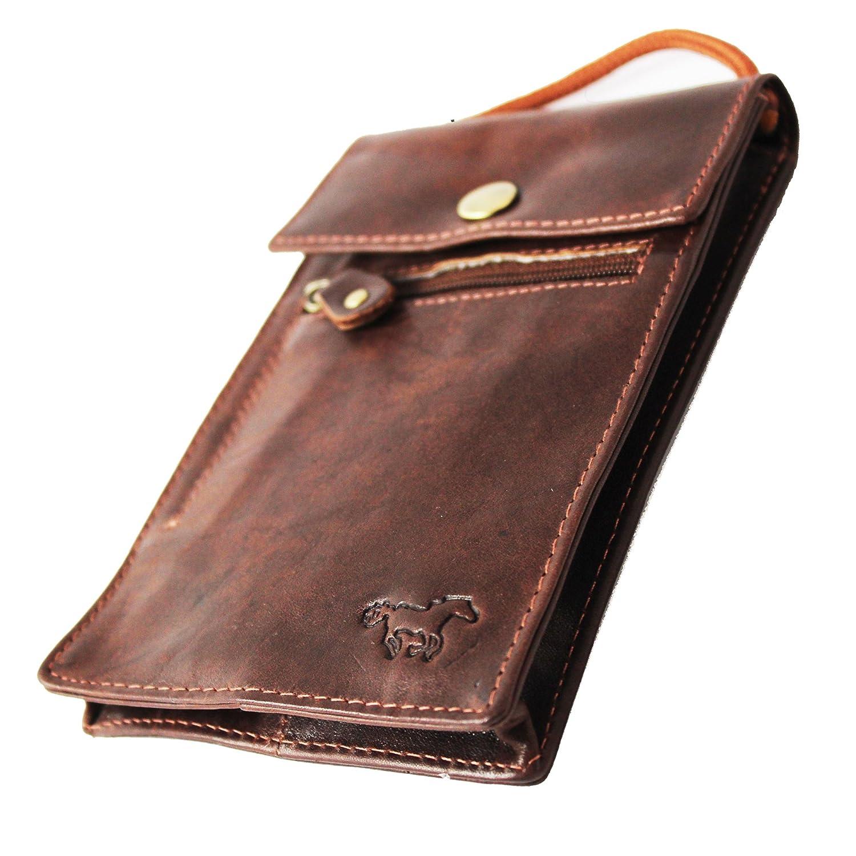 Pochette Tour de Cou – Pochette Voyage - Pochette Passeport Cuir - Prenez votre Mobile (Iphone 8 et Samsung ) et Protege Passeport avec RFID SKIMM Protegé - Plus Grande Sac 3110