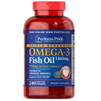 Puritans Pride Triple Strength Omega-3 Fish Oil 1360 Mg (950 Mg Active Omega-3),...