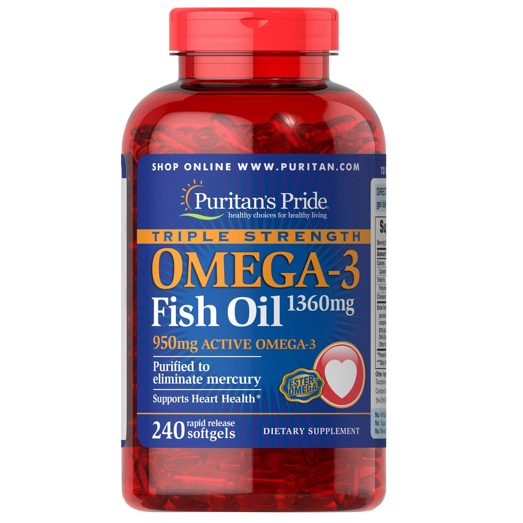 Puritans Pride Triple Strength Omega-3 Fish Oil 1360 Mg (950 Mg Active Omega-3), 240 Count