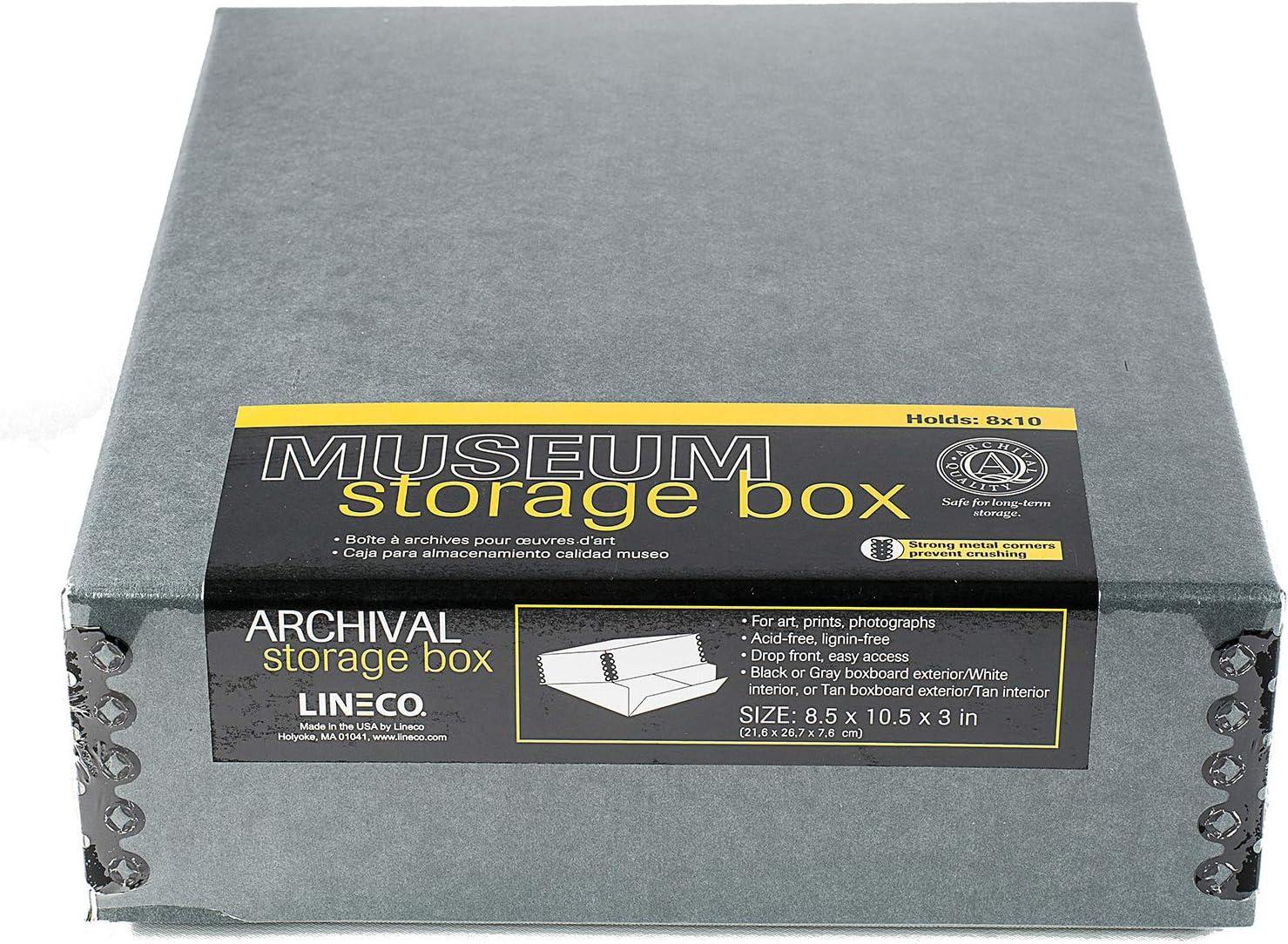 langlebig Lineco Archivierungsbox S/äurefrei mit Metallkante ligninfrei Sch/ützt Dokumente und Drucke vor Verblassen oder Verf/ärben zum Basteln 8.5x11.5 schwarz