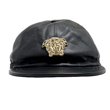 Amazon.com  Versace 100% Leather Black Logo Embellished Men s Hat Sz ... d13edef306b