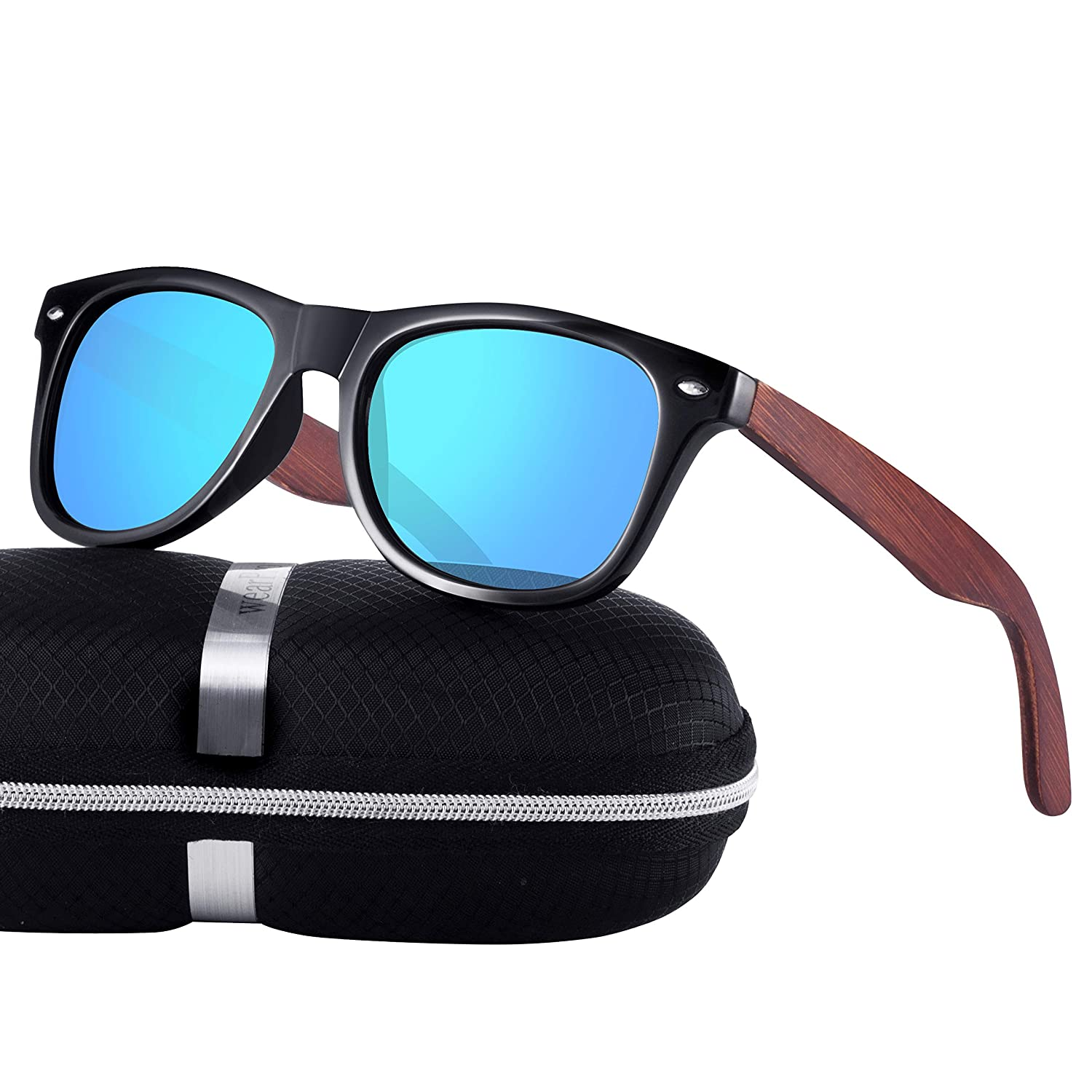 6aa5bfb665 Polarized Wood Sunglasses for Men and Women -wearPro Wood Sunglasses UV400  for Traveling Driving with