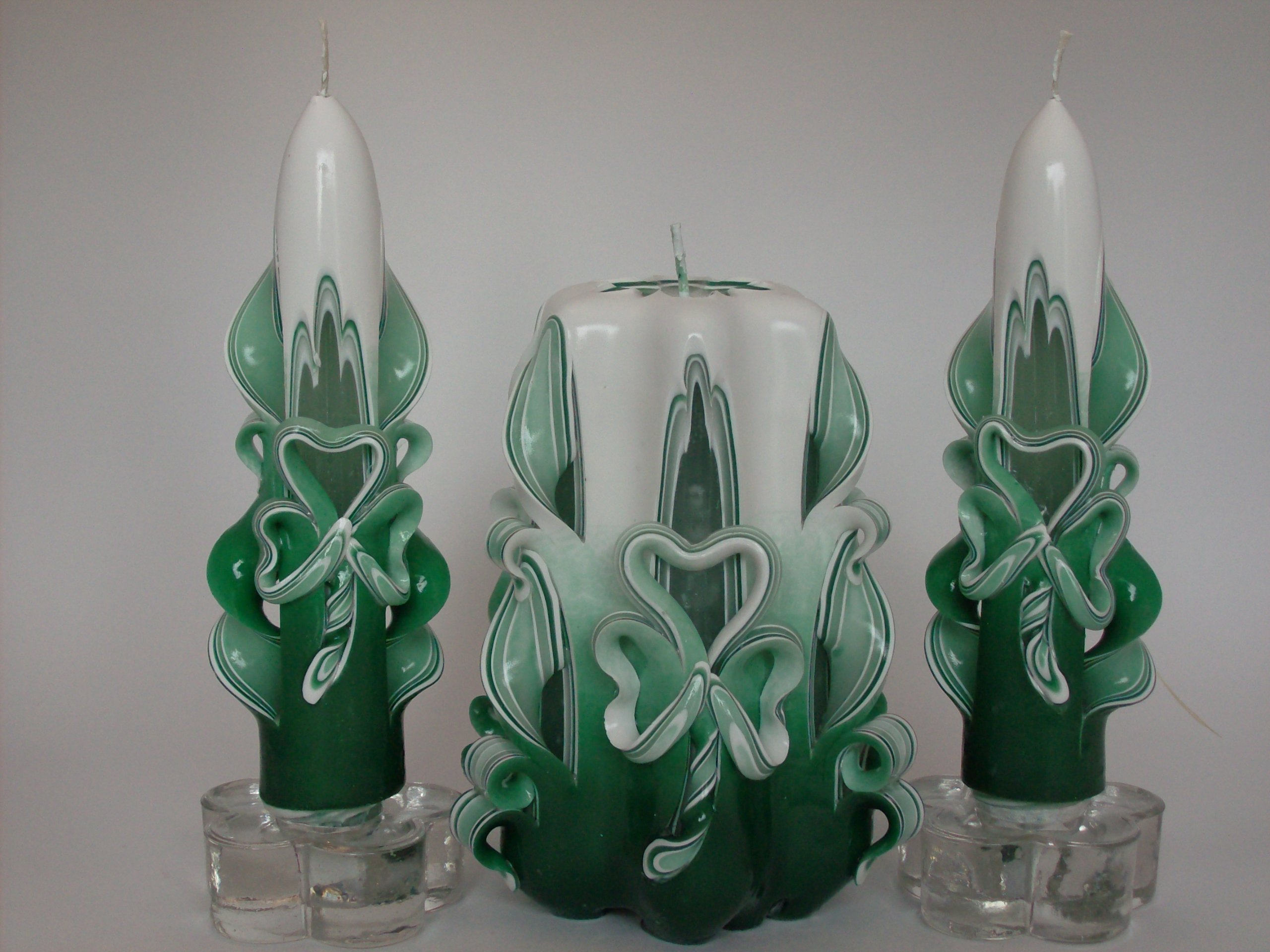 St. Patrick's Day Shamrock Candle Set - Ombre (Variegated Green)