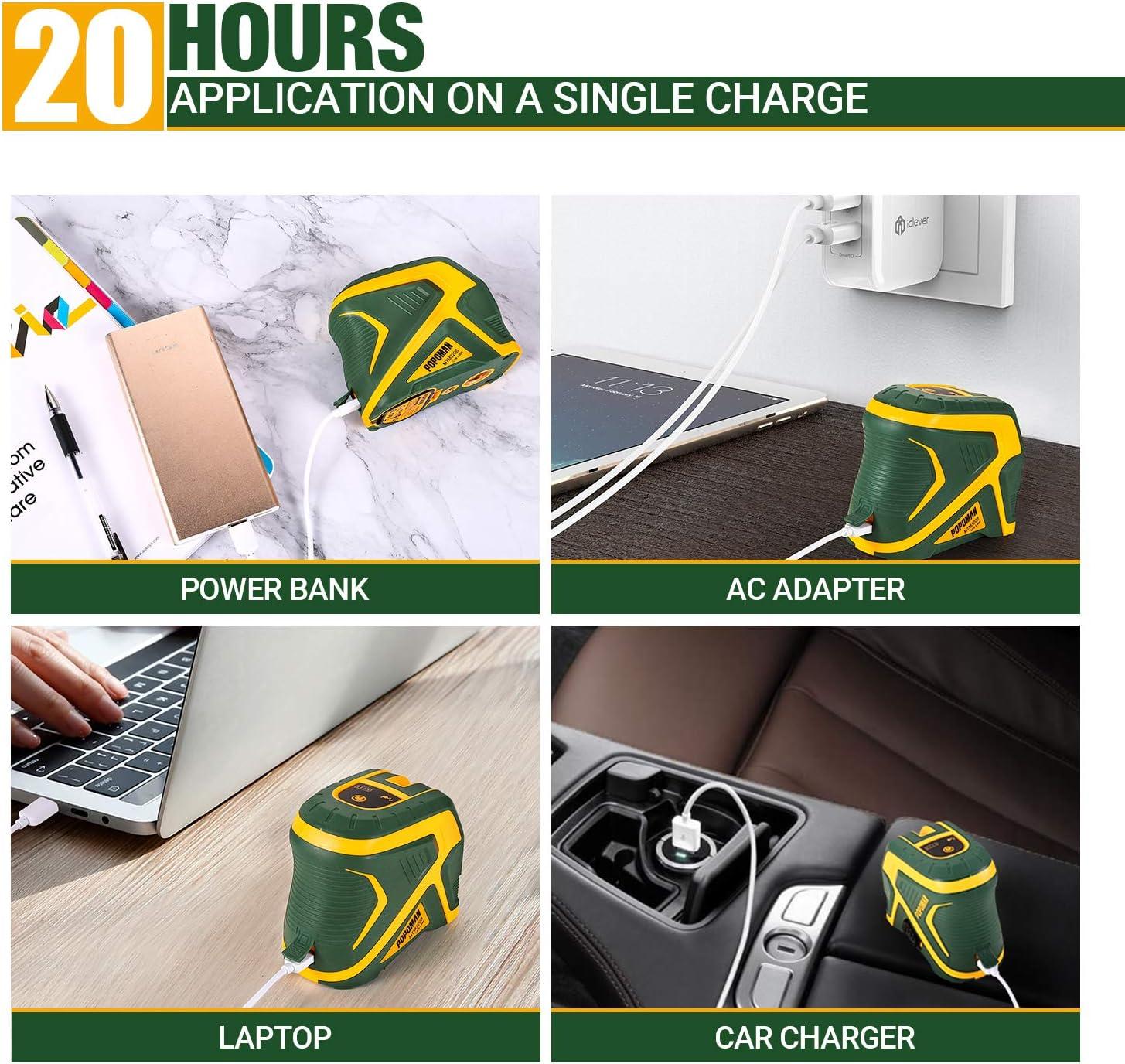 carga USB Nivel l/áser verde bater/ía de litio autonivelante con funci/ón de pulso 25m estuche protector-MTM320B 2 Puntos POPOMAN L/ínea l/áser Cruzada rotaci/ón de 360 /° soporte magn/ético IP54