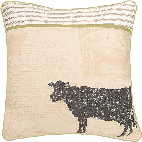 Heritage Lace Farmhouse 18 x18 Cow Pillow