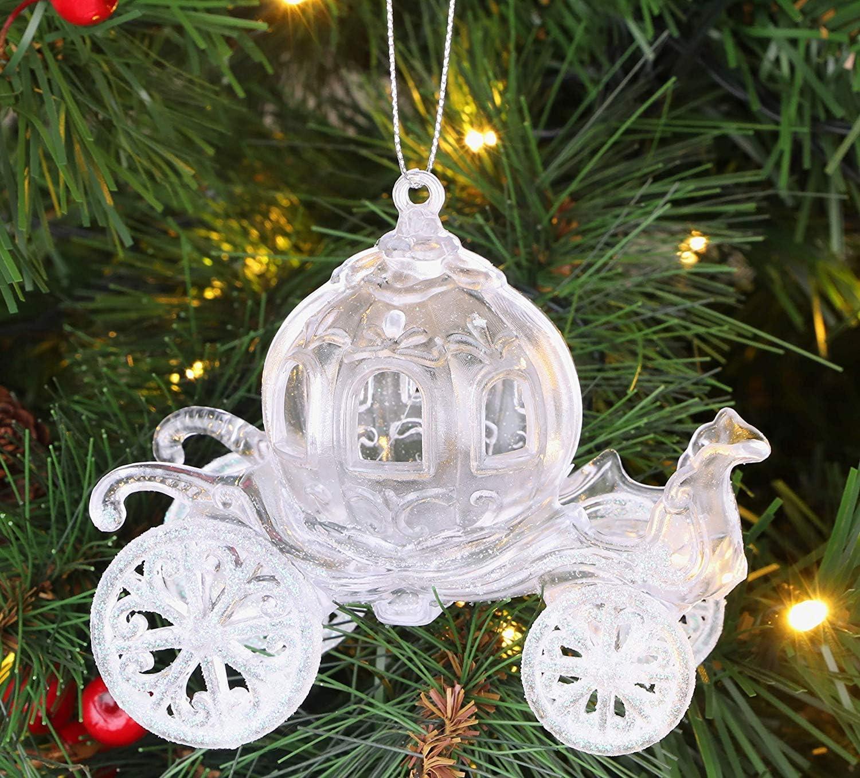 D/écoration de Chariot de Princesse d/écor/ée de Paillettes de 10 cm Christmas Concepts/® Iridescent, Paquet de 4