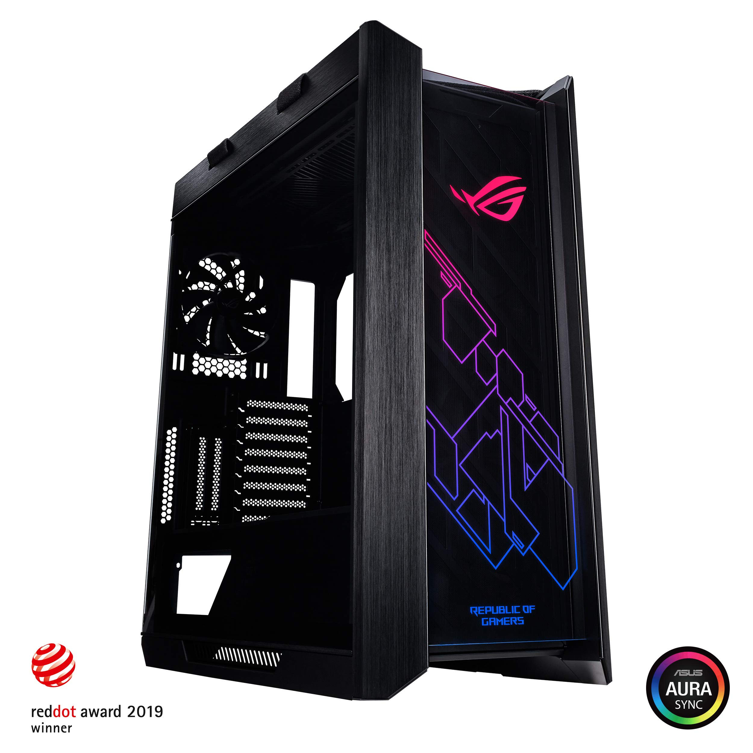 Asus ROG Strix Helios GX601 RGB Mid-Tower Computer Case for up to EATX Motherboards with USB 3.1 Front Panel, Smoked Tempered Glass, Brushed Aluminum and Steel Construction, and Four Case Fans by ASUS