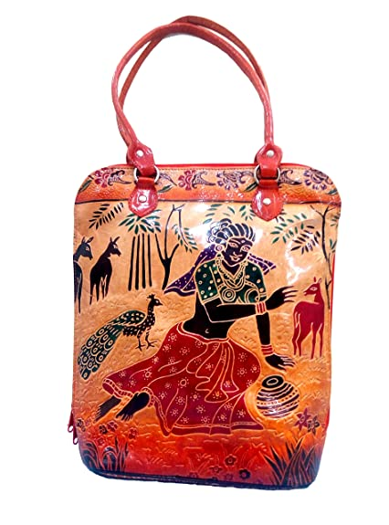 6eee0a0307d0 ZINT HAND TOOLED PAINTED SHANTINIKETAN GENUINE LEATHER SHOULDER BAG PURSE  TOTE BEACH BAG HANDBAG TRIBAL ETHNIC BOHO SHOPPING FESTIVAL BAG  Amazon.in   Shoes ...